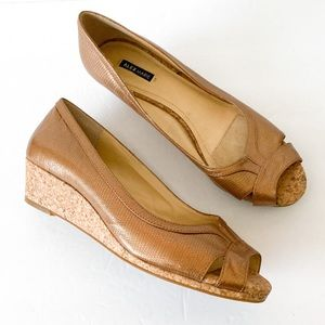Alex Marie peep toe with cork wedge